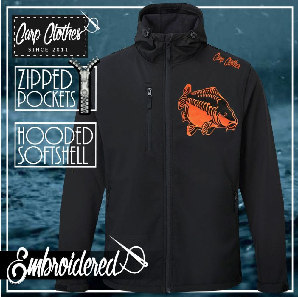 009 EMBROIDERED HOODED SOFTSHELL JACKET